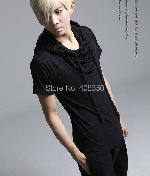 Reticularis Hooded T-shirts Men\'s Black White Brand Short Sleeve Summer Top Tees 2015 Costume Casual Masculina Camiseta Hombre (7).jpg