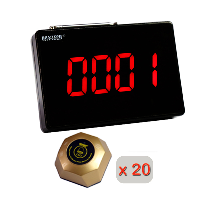 DAYTECH Calling System Restaurant Pager Waiter Service Call Button Guest Pagering System 1 Display and 20 Call Buzzers wireless call system for nursing home for quick service with personalized cann button and led display hot sale shipping free