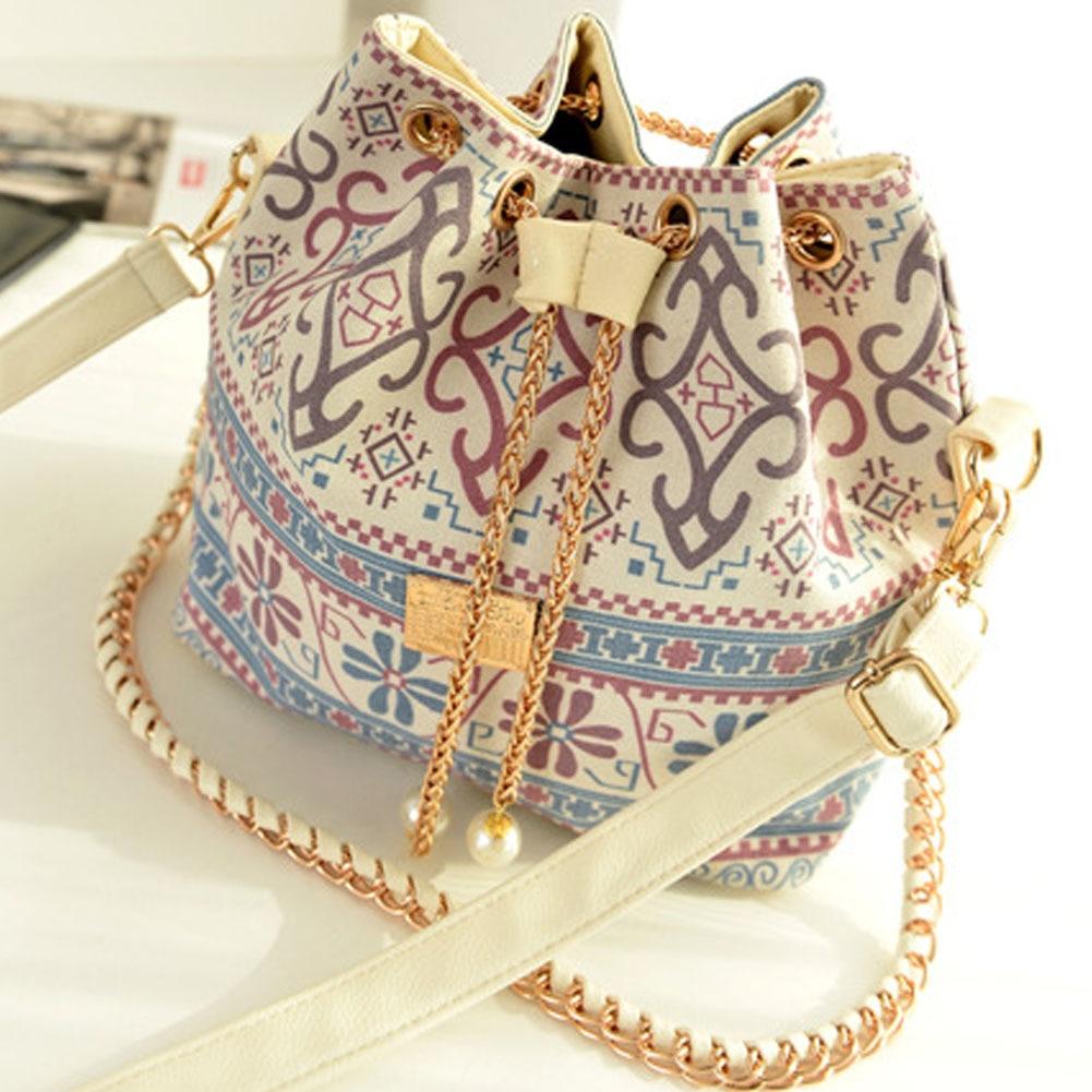 Canvas Drawstring Bucket Bag Small Chains Shoulder Bag Vintage Handbags Messenger Bags Bolsas Feminina