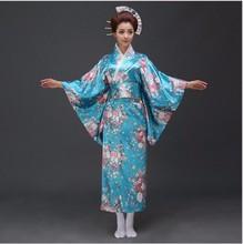 Sale Blue Japanese Satin Yukata With Obi Sexy Women's NEW Fashion Kimono Haori Novelty Vintage Party Prom Dress Floral One Size
