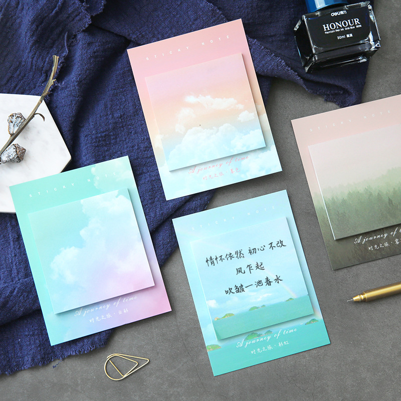6pcs Travel Picture Sticky Notes Journey Snow Forest Rainbow Color Post Memo Pad Marker It Note Pad Office School Supplies F033