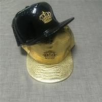 2015 New Fashion Crown Metal Logo With Diamond PU Leather Snapback Hiphop Baseball Caps Hat
