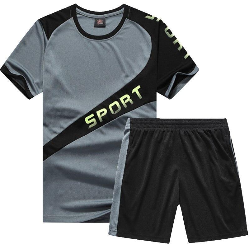 Alharbi 2019 Vestito Di Sport Di Estate Traspirante A Maniche Corte Vestiti Magliette E Camicette Shorts Per Mens 2 Pcs M-8xl Lussuoso Nel Design