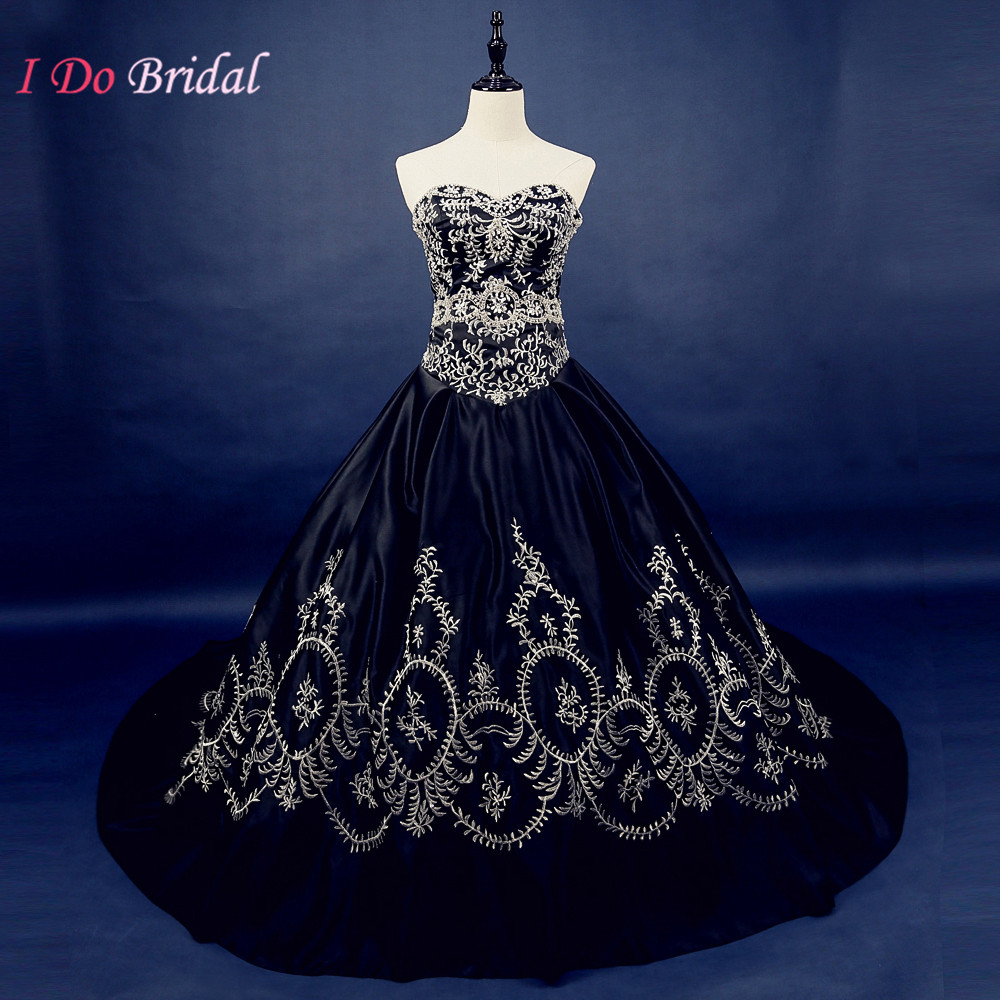 Gothic black wedding dress real photos satin vintage for Blue and black wedding dresses