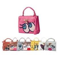 Small funny eye bags faux crodocile handbag cute sequins bolsa women messenger bags clutch flap girl pu leather handbags