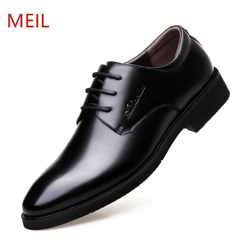 MEIL Men Shoes Genuine Leather Men Dress Shoes Brand Luxury Men's Business Casual Classic Gentleman Oxford Shoes Ma все цены
