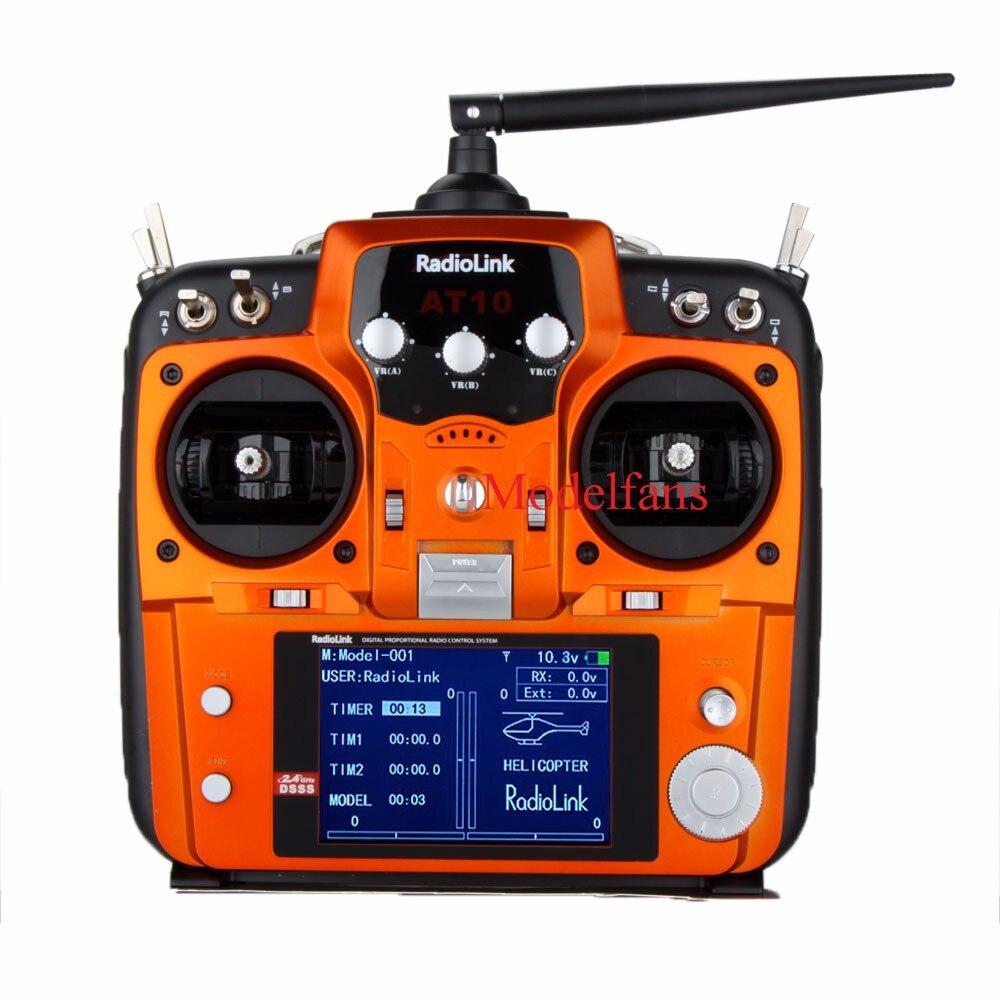 RadioLink AT10 2.4G Sistema de Controle Remoto Transmissor Receptor R10D 10CH & PRM-01 Tensão Módulo de Retorno Mode2