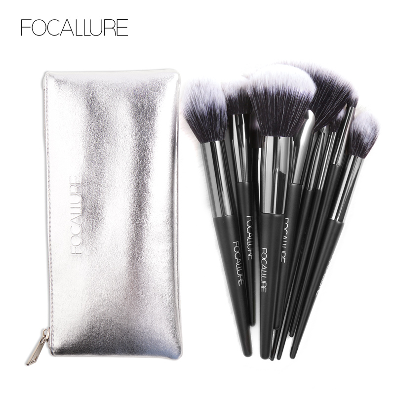 FOCALLURE 10Pcs/Set Professional Makeup Brushes Kit with Eyeshadow Foundation Eye Shadow Brush Make up Brush Tools Cosmetic 10pcs professional makeup brushes set powder foundation eye shadow beauty face blusher cosmetic brush blending tools sx14