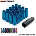 EPMAN Racing V48 Azul Rueda Llantas Tuercas de Acero de Extremo Abierto 12x1.5mm 20 Unids 48 MM Extendida EP-NUTV48-15-BL
