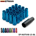 EPMAN Racing V48 Blue Steel Open End Wheel Rim Lug Nuts 12x1.5mm 20Pcs 48MM Extended EP-NUTV48-15-BL