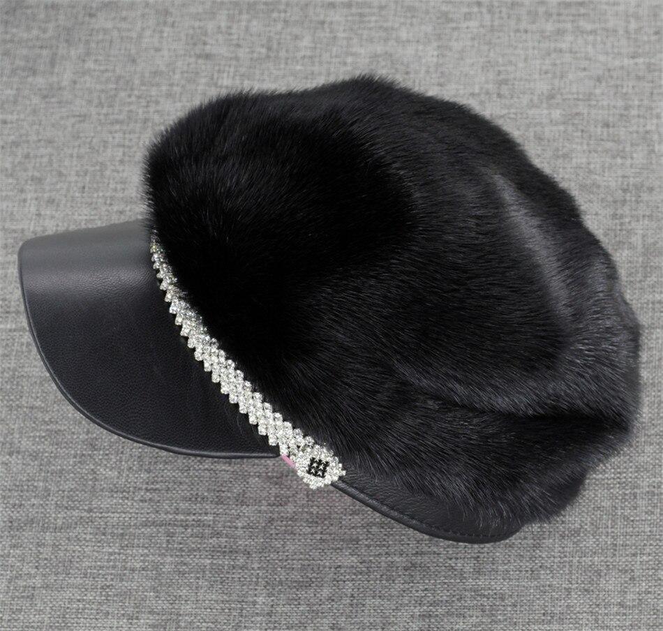 Новая женская модная шапка из натурального меха норки и овечьей кожи