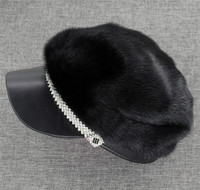 Brand New Women's Fashion Genuine Full Piece Mink Fur Sheep Leather hat cap