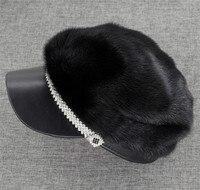 Brand New Women S Fashion Genuine Full Piece Mink Fur Sheep Leather Hat Cap
