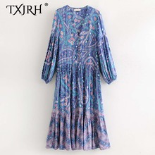 TXJRH Vintage Bohemia Ethnic Floral Print V-Neck Chest Button Pleated Dress Retro Women Long Sleeve A-Line Holiday Long Dress