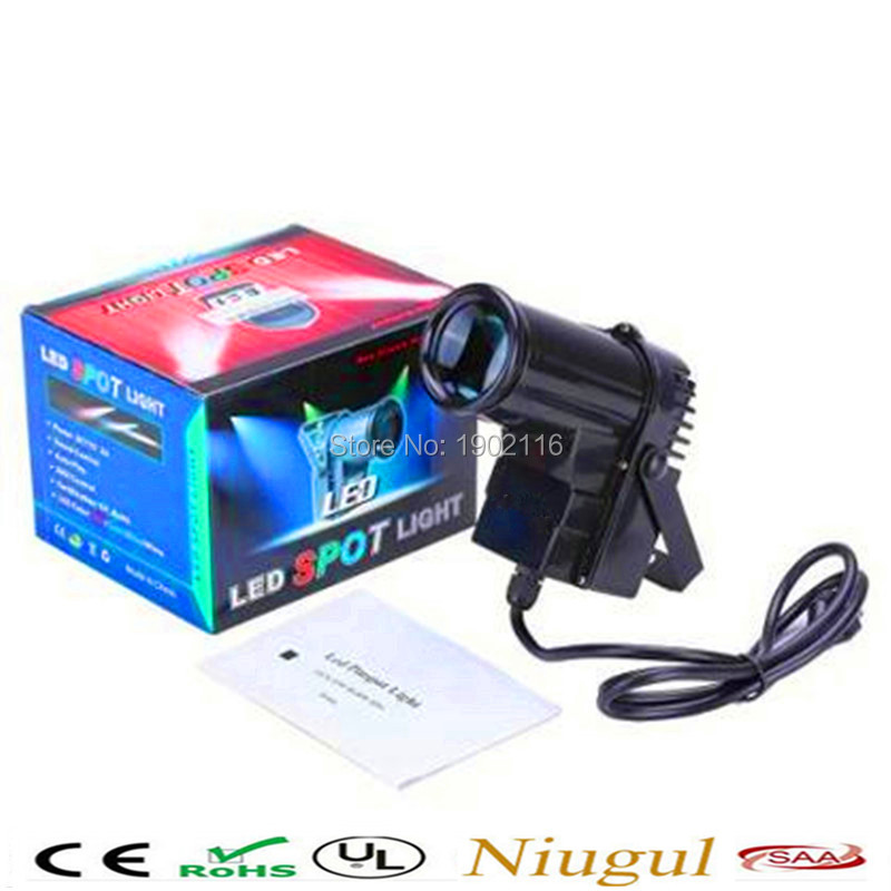 ФОТО Mini 10W DJ Disco RGBW LED Pinspot DMX512 Narrow-Beam Pinspot Stage Lighting with EU/US plug LED Party DJ Light