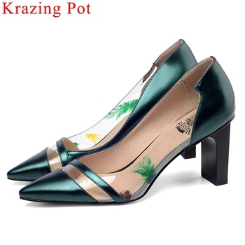 Krazing Pot new fashion pvc material patchwork cow leather mature women pumps slip on high heels dress big size jelly shoes L14
