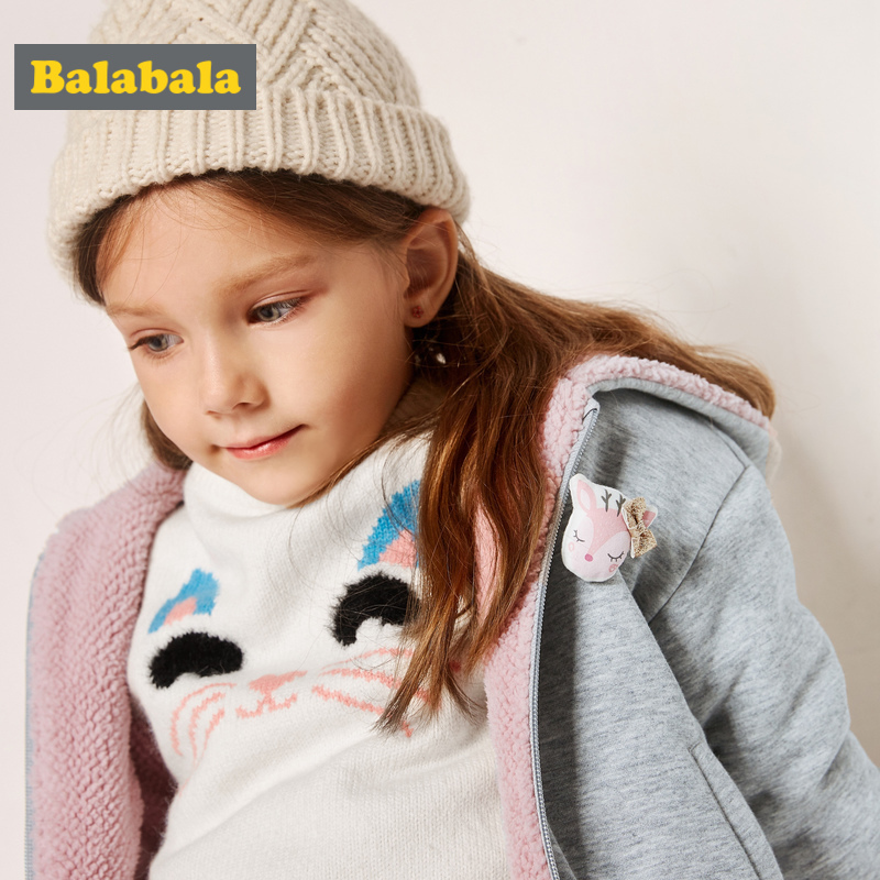Balabala Toddler Girl Reversible Fleece-Lined Hooded Jacket With Slant Pocket Kids Zip Jacket With Ribbed Cuff And Hem Winter