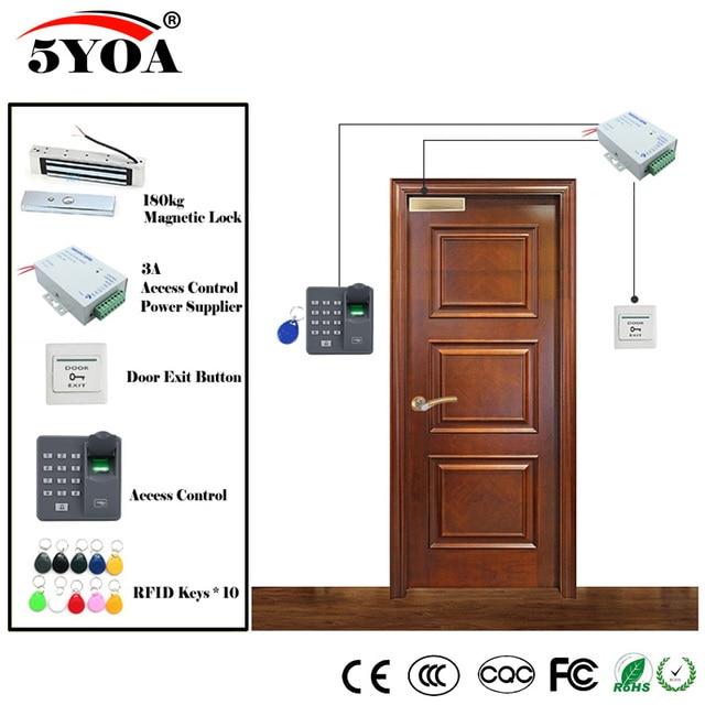 Impressão digital Sistema de Controle de Acesso RFID Kit Óculos De Madeira Conjunto Porta + Fechadura Magnética + ID Card Keytab + Fornecedor de Energia + botão