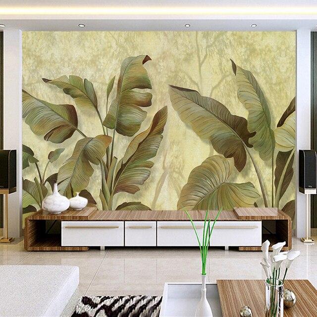 Southeast Asia Banana Leaf Photo Wallpaper Custom 3D Wall Mural ...