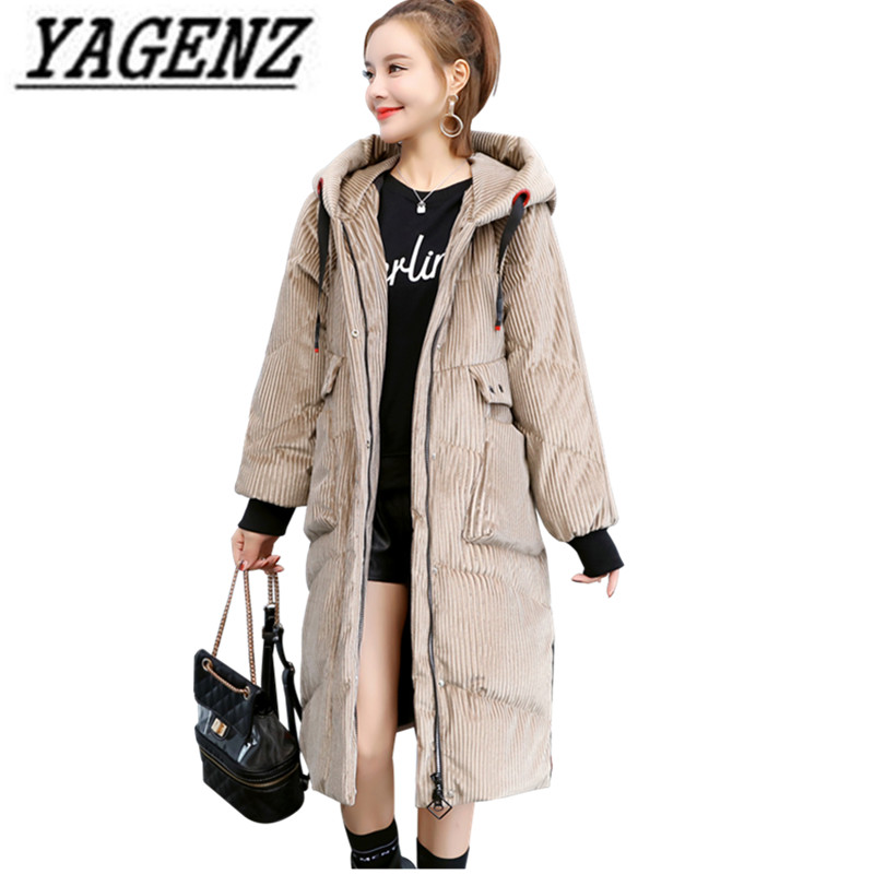 High quality Women Winter   Parkas   Hooded Jacket Coat Korea Corduroy Thick Warm Long Outerwear Casual Loose Cotton Female Jackets