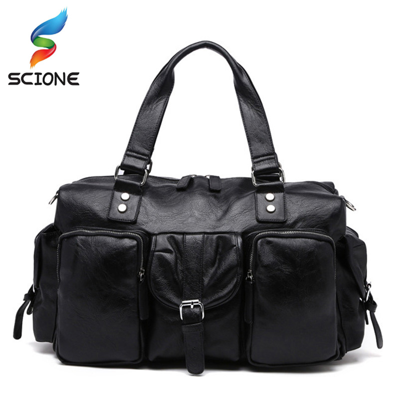 New Trend Mens PU Leather Sports Bag Outdoor Gym Large capacity Sport Handbag Tote Bag Travel Fitness Duffle Bags for Male black simple style pu leather sports gym bag for men fitness shoulder handbags crossbody bags travel training duffle handbag