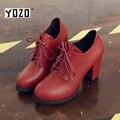 Oxfords Mulheres Moda Couro PU Sola De Borracha Sapatos Brogue Boi Das Mulheres Elegantes Senhoras de Salto Alto Sapatos de Marca Chaussures Femme