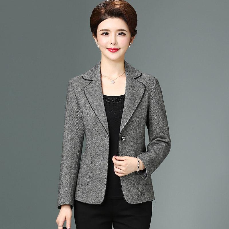 New 2019 autumn winter wool thin blazers women elegant slim short jacket woolen outerwear plus size L - XXXXL(China)