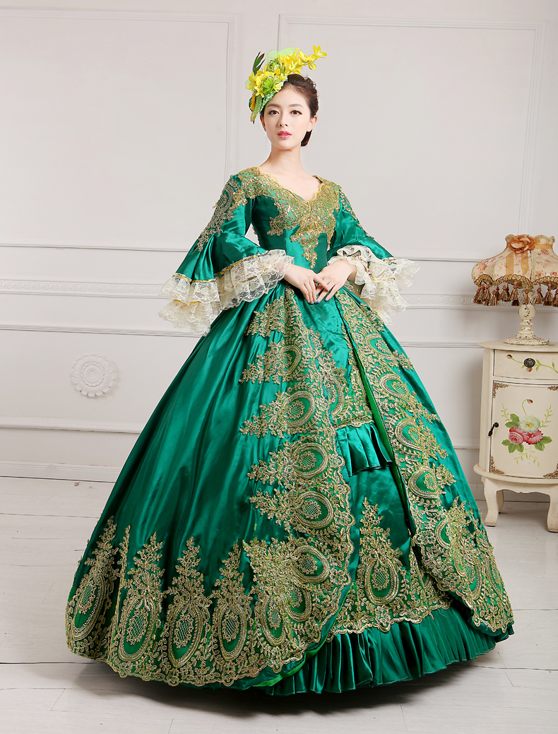 Victorian Gothic Green Satin Long Sleeve Lace Ruffles