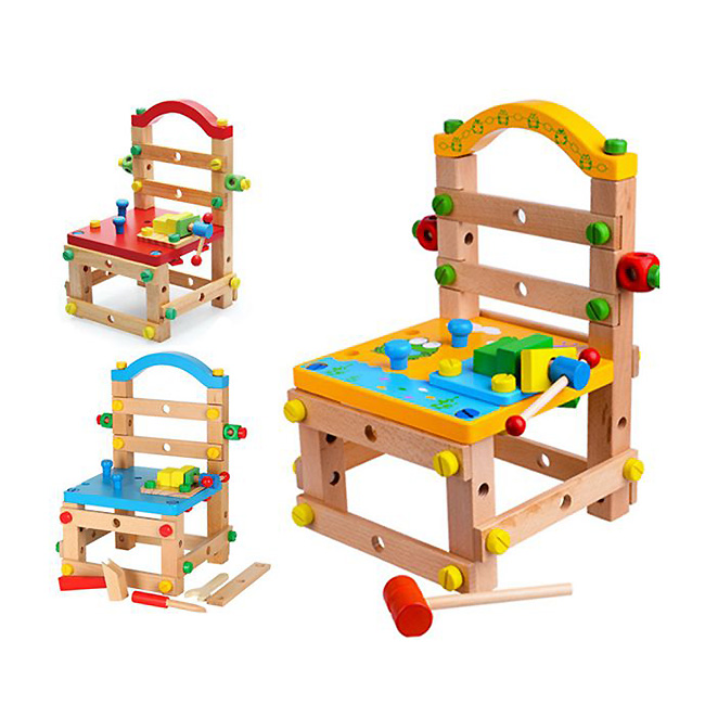 Luban Chair Educational Toys Nut And Screw Assembly Disassembly Model Kit Wooden Toys For Kids Children Boys