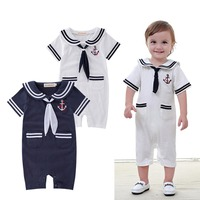 Baby Toddler Boys Sailor Suit Stripe Romper Navy Onesie Outfit