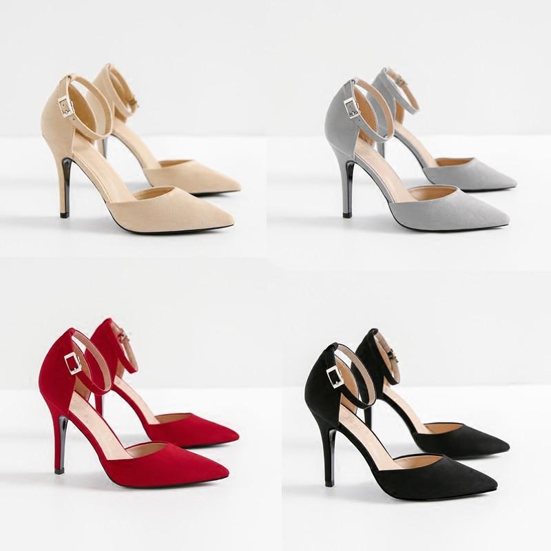 Pointu Noir Sangle Chaussures 2018 Femelle kaki Boucle Et Fine Sauvage Nude Talons Printemps Nouveau rouge Couleur Hauts Professionnel gris Avec Automne Noir Mot pgYxqHf