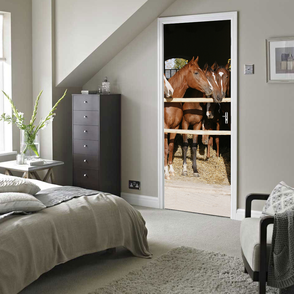 3D Animal Horse Stable Horse Door Wall Stickers Wallpaper Wall Sticker Waterproof Living Room Bedroom Home Decoration dsu family rules wall sticker for home decoration