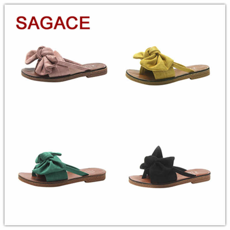 a94ecd77c916e3 GGHB Women Fashion Solid Color Bow tie Flat Heel Sandals Slipper Beach Shoes