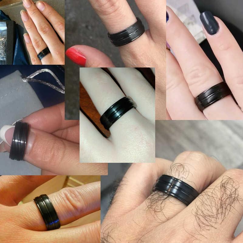 Meaeguet คลาสสิกสีดำ 100% ไทเทเนียมคาร์ไบด์แหวนสำหรับชาย 3 เส้นกว้าง 8 มม.แหวนหมั้น Anel เครื่องประดับ