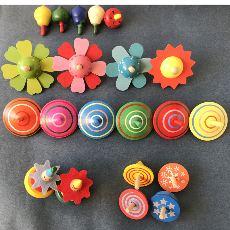 10pcs children wooden spinning top toys/ Kids baby cartoon fruite clown Mini wood spinin ...