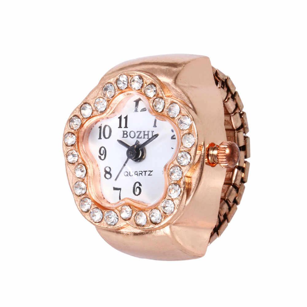 Moda jóias moda feminina masculino dial quartzo analógico relógio criativo aço legal elástico anel de dedo de quartzo dropship