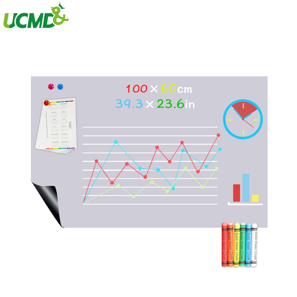 100x60CM Magnetic Blackboard Gray Color ChalkBoard Dry Erase Writing Drawing Board Home Decorative Message Boards Wall Sticker