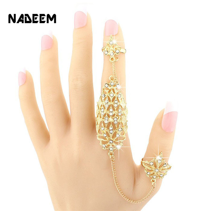 2017 New Fashion Women Multiple Rose Design Full Crystal Gold Color Stack Knuckle Band Finger Ring Set Fashion Link Ring Jewelry