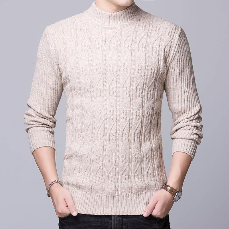 2018 neue Mode Marke Pullover Herren Pullover Jacquard Slim Fit Jumper Stricken Rollkragen Herbst Koreanische Stil Casual Männer Kleidung