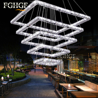 Large Crystal Chandeliers 5 Rings Lustres De Cristal Lamp Dinning Living Room LED Square Crystal Chandeliers