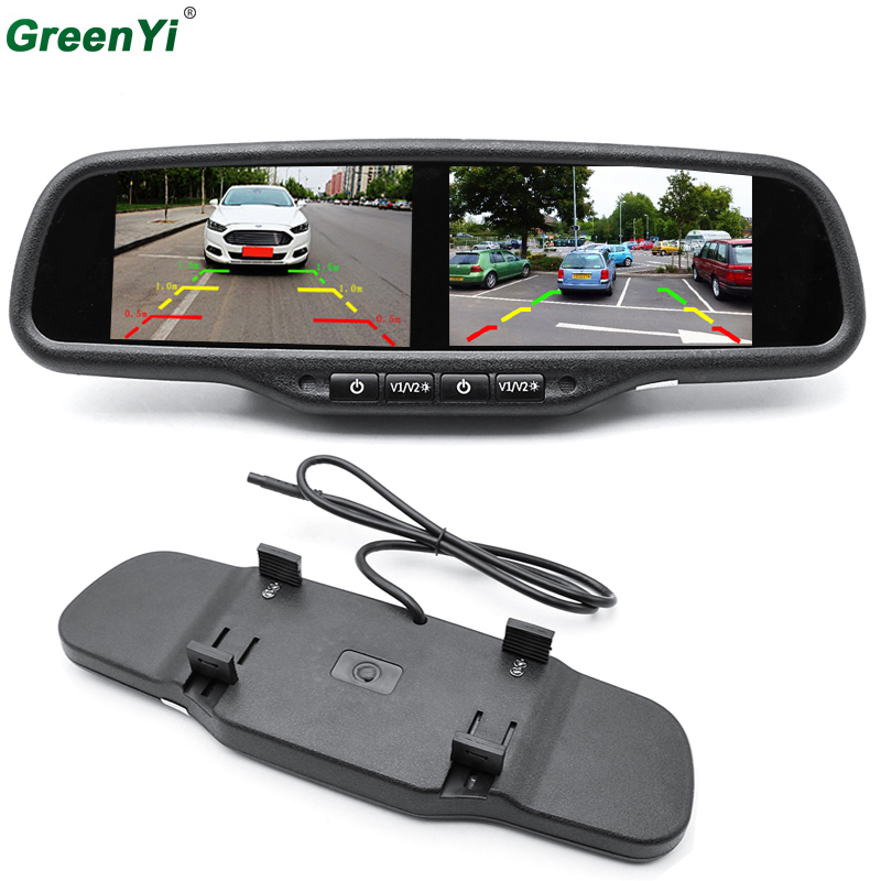 GreenYi HD 800X480 Dual 4 3 Inch Screen TFT LCD Rear View Car Monitor Mirror 2CH