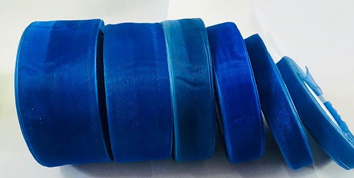 Geinne 12 мм-50 мм шириной 50 ярдов/рулонов синий сапфир лента из органзы оптовая продажа подарочной упаковки рождественские ленты