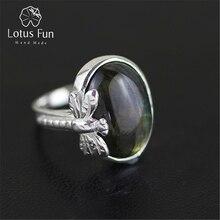 Lotus Fun Real 925 Sterling Silver Natural Labradorite Stone Handmade Original Designer Fine Jewelry Vintage Rings for Women