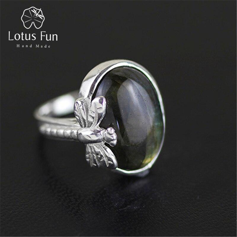 Lotus Plaisir Réel 925 Sterling Argent Naturel Labradorite Pierre Originaux Faits Main Designer Fine Bijoux Vintage Anneaux pour les Femmes