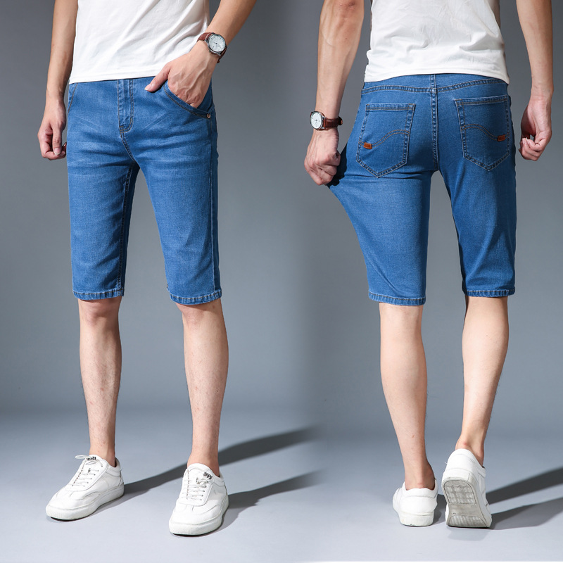 Denim Shorts Jeans Patchwork Loose Blue Straight Men's Casual Summer Solid Cotton Plus-Size
