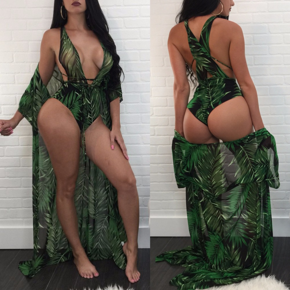 Summer 2018 Women Fashion Selva Pattern Print Jumpsuit Cloak+Sexy Rompers Bodysuits Lace Up Brazil Beach Bikinis Jumpsuits K0756