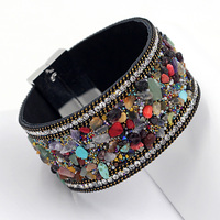 Fashion European American Popular Multi Chain Leather Wrap Bangle Bracelet With Multicolor Natural Stone Gift