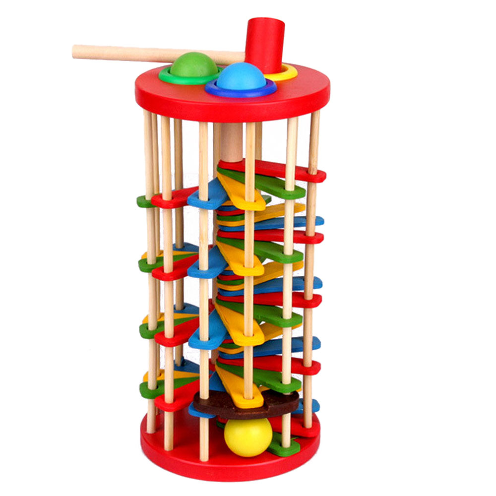 Wooden Toys Batting Ladder Hand Knock The Ball Montessori Mathematics Early Educational Colorful Toys For Children Kids Baby