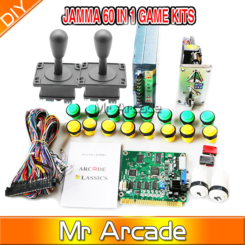 Classical arcade game 60 in 1 kit with 16A power supply, american joystick ,24MM button,coin operator, 1P2P button,jamma wire arcade parts bundles kit with 60 in 1 board power supply joystick push button microswitch harness glass clips coin door camlock