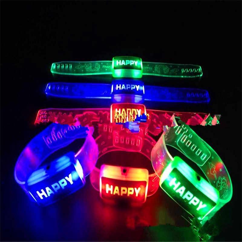 Electric Light Up Luminous Flashing Happy Bracelet Festival Rave Children Watch Led Lighting Up Toys for Kids Children Christmas